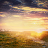 Country sunset nature background, blurred Stock Photo