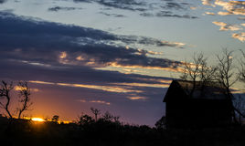 Country Sunset. Old shack at sunset out in the countryside,Western Australia Royalty Free Stock Photos