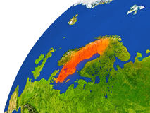 Country of Sweden satellite view Royalty Free Stock Images