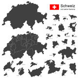Country Switzerland. Silhouettes of country Switzerland and all cantons Stock Image