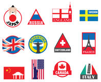 Country symbols, flags and sticker designs Stock Image