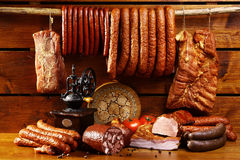 Country table with sausage and ham Royalty Free Stock Image