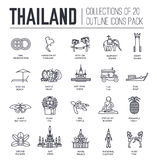 Country thailand travel vacation guide of goods, place and feature. Set of architecture, fashion, people, item, nature. Background concept. Infographic Stock Photography