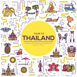 Country thailand travel vacation guide of goods, place and feature. Set of architecture, fashion, people, item, nature. Background concept. Infographic Stock Photo