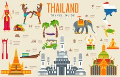 Country thailand travel vacation guide of goods, places and features. Set of architecture, fashion, people, items. Nature background concept. Infographic Royalty Free Stock Image
