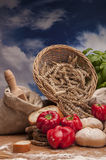 Country theme with vegetables and baking goods with sky background Stock Images