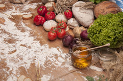 Country theme with vegetables and baking goods with sky background Stock Photography