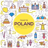 Country thin line Poland travel vacation guide of goods, places and features. Set of architecture, fashion, people. Items, nature background concept. Outline Royalty Free Stock Image
