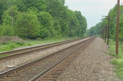 Country Tracks. Railroad Tracks in the countryside of Ohio.  Very Rural Setting Stock Photography