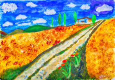Country tracks painting by Kay Gale Stock Photo