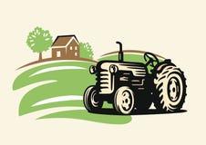 Country with tractor. Vector country with tractor on beige background Stock Photos
