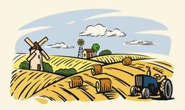 Country with tractor. Vector country with tractor on beige background Royalty Free Stock Photo