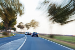 Country traffic with motion blur Stock Photography