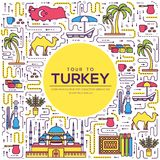 Country Turkey travel vacation guide of goods, place and feature. Set of architecture, fashion, people, item, nature. Background concept. Infographic Stock Photo