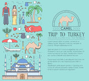 Country Turkey travel vacation guide of goods, places and features. Set of architecture, fashion, people, items, nature Stock Image