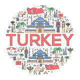 Country Turkey travel vacation guide of goods, places and features. Set of architecture, fashion, people, items, nature Stock Photos