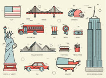 Country USA travel vacation guide of goods, places and features. Set of architecture, foods, sport, items, nature. Country USA travel vacation guide of goods vector illustration