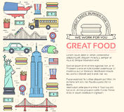 Country USA travel vacation guide of goods, places and features. Set of architecture, foods, sport, items, nature. Country USA travel vacation guide of goods stock illustration