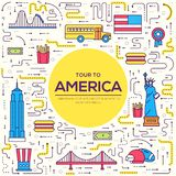 Country USA travel vacation guide of goods, places and features. Set of architecture, foods, sport, items, nature. Background concept. Infographics template vector illustration