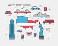 Country USA travel vacation guide of goods, places and features. Set of architecture, foods, sport, items, nature. Background concept royalty free illustration