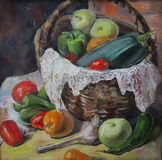 Country vegetables, oil painting. Country vegetables in a basket, oil painting Stock Images