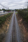 Railroad Tracks. A country view looking down railroad tracks royalty free stock image