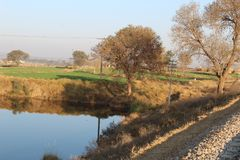 Country view of Punjab by the side of lake. A country view of Punjab in countries of subcontinent like India and Pakistan Royalty Free Stock Images
