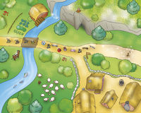 Country Village air view. A view from above of trees, cultivated fields, paths and country people. A funny digital illustration for the fairy tale the royalty free illustration