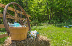 Country wedding decorations in a back yard. Royalty Free Stock Photography
