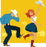 Country Western Dance. Cowboy and cowgirl dancing country western dance, farmland background, vector illustration, no transparencies, EPS 8 Stock Image