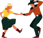 Country Western Dancing. Couple dancing Country Western, front view, EPS 8 vector illustration, no transparencies Royalty Free Stock Photos