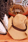 Country Western. Detail of snakeskin cowboy boots with cowboy hat and dobro stock photos