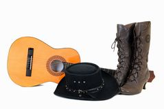 Country & Western guitar hat Royalty Free Stock Images