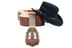 Country & Western guitar hat Royalty Free Stock Image