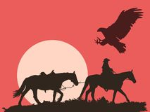 Country Western Illustration With Red Background stock photography