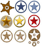 Country Western Star Badges. Here is a collection of nine country western themed star badges. These are perfectly created for your website or printing needs vector illustration