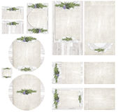 Country Whitewash Board and Herb Invitation Set Stock Photography