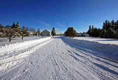 Country winter scene. On a sunny day Royalty Free Stock Images