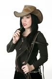 Country woman carrying a bridle Stock Image