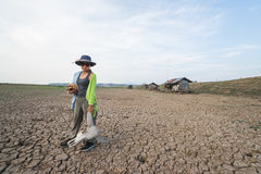 Country woman farmer at climate change global warming danger stock image