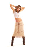 Country Woman In The Long Skirt Royalty Free Stock Photos
