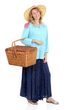 Country woman with picnic basket. On white background Royalty Free Stock Photos