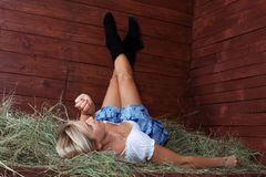 Country woman relaxing stock images