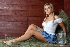 Country woman relaxing Royalty Free Stock Image