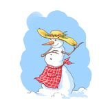 Country woman snowman stock photo