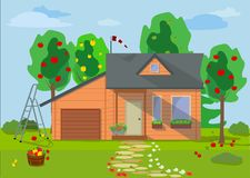 Country wooden eco house with fruit trees and flower lawn in a flat style. Vector illustration. Rural landscape with wooden eco house with fruit trees, flowers Royalty Free Stock Photos