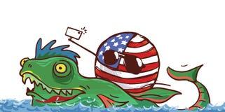 Countryballs сумасшедшие США на драконе иллюстрация штока