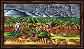 Countrylife e cultivo da ilustração do vetor no estilo do bloco xilográfico Imagem de Stock Royalty Free