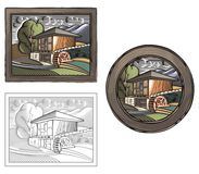Countrylife en de Landbouwillustratie in Houtdrukstijl Stock Foto