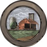 Countrylife and Farming Illustration in Woodcut Style. Illustration of a farm, done in retro woodcut style Stock Images